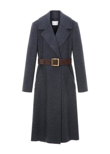 Wide Collar Belt Wool Blended Long Coat