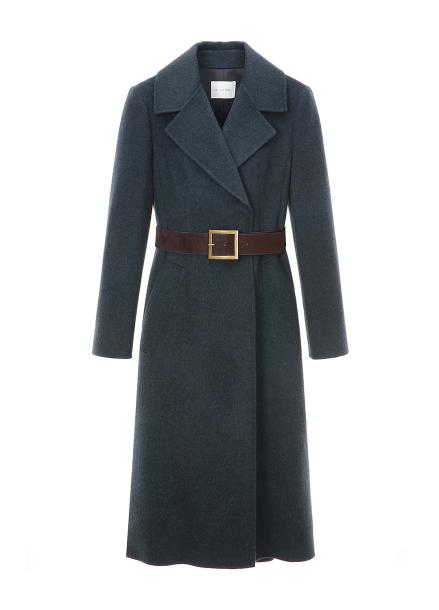 Wide Collar Belt Wool Blended Long Coat