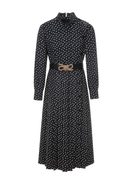 Dot Print Loop Belt  Maxi Dress