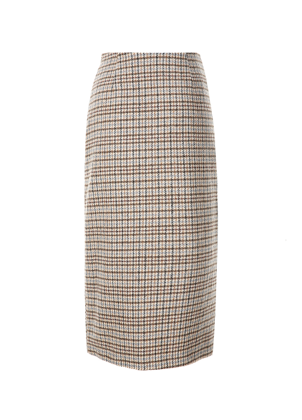 Unbalance Wrap Check Skirt