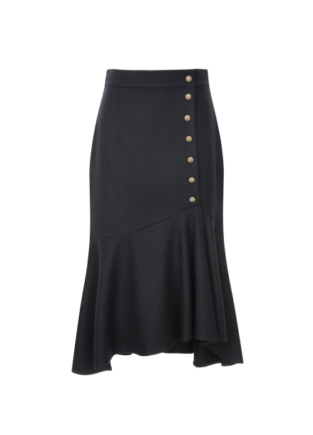 Button Trimming Flare Wool Blended Skirt