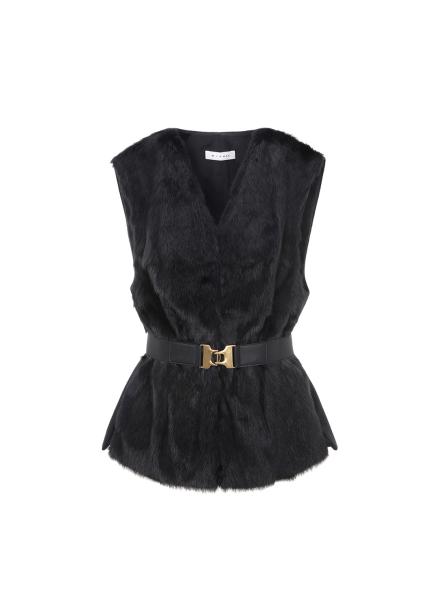 Minimal Fur Belted Wool Vest