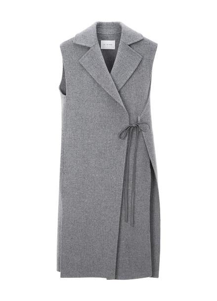 Ribbon Point Minimal Wool Blended Vest