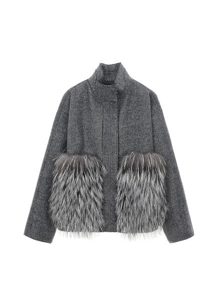 Fox Fur Trimming Herringbone Short Jacket