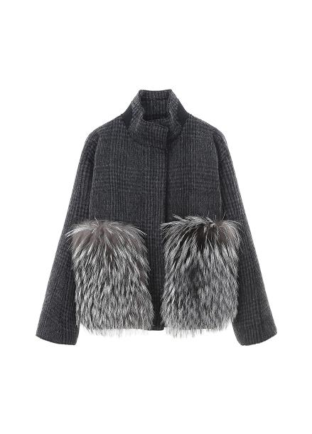 Fox Fur Trimming Check Short Jacket