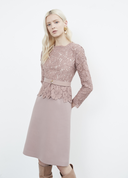Lace Layered Belted Dress