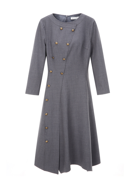 Diagonal Button Trimming Dress