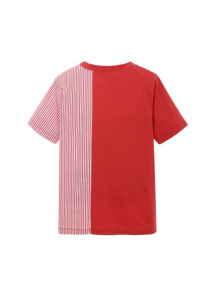 배색 스트라이프 블록 포켓 티셔츠