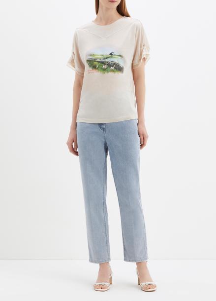 레이온 프론트 프린팅 티셔츠