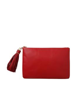 Tassle Leather Clutch