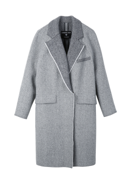 Wool Blend Collar Colorblock Coat