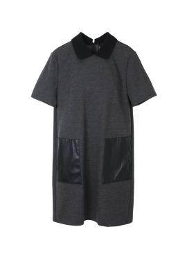 Leather Pocket Collar Dress