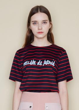 [CLUE DE CLARE/40%] stripe top_RED