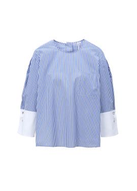 Stripe Patterned Three-quarter Blouse