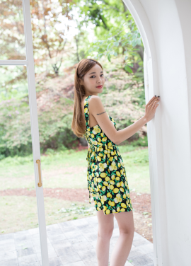 [MELTINGLOW/20%] LEMON PATTERN DRESS_BLACK