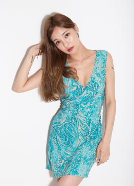 [MELTINGLOW/20%] PAISLEY WRAP DRESS_BLUE
