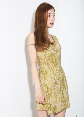 [MELTINGLOW/20%] PAISLEY WRAP DRESS_GREEN