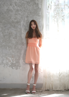 [MELTINGLOW/40%] CHIFFON DRESS_ORANGE