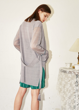 [MOONHEE/시즌오프!/35%]ROUNGE LONG CARDIGAN_GREY