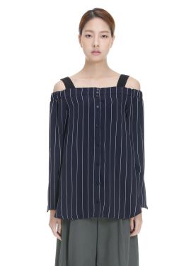 Stripe Patterned Off Shoulder Blouse[오연서/구재이착용]