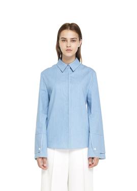 [INTERVIEW X MILLOGREM/라스트세일50%]솔라, 연정 착용/Roomy Sleeve Tencel Denim Shirt_BLUE