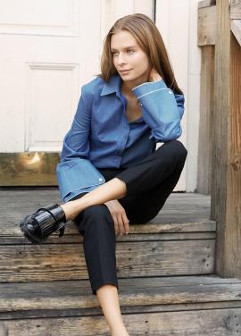 [INTERVIEW X MILLOGREM/20%] 배누리 착용 Roomy Sleeve Tencel Denim Shirt_NAVY