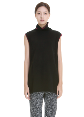 Poloneck Sleeveless Pullover