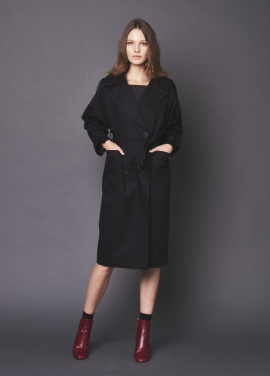 [THE LOOM/10%] COTTON OVERSIZE TRENCH COAT_BLACK