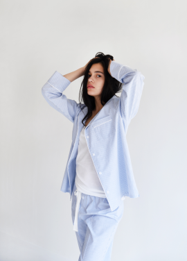 [ADD ROBE] Piped PJM Shirt_Blue st