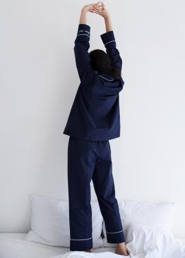 [ADD ROBE] Piped PJM Pants_Navy