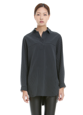 Striped Unbalanced Length Blouse