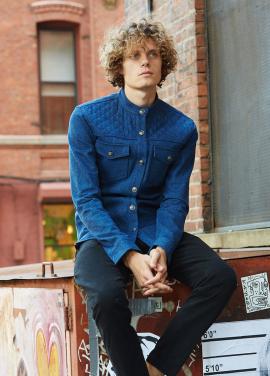 [MILLOGLEM]MAN quilting denim shirts_light blue