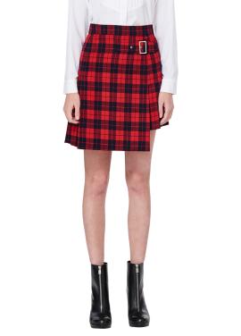 [MILLOGLEM]에이핑크 남주, 초롱 착용 check mini skirt_red