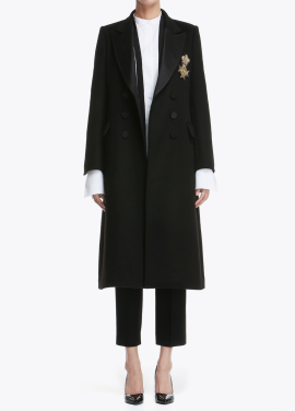 Silk Collar Long Coat