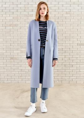 [PIN BLACK/당일배송] 김하늘 소이현 코트 Slit Slim Coat Blue