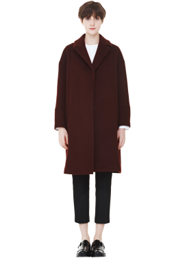 [MILLOGLEM/역시즌50%SALE]wrap collar drape coat_burgundy