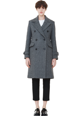[MILLOGLEM/역시즌50%SALE]herringbone double breasted coat_women_grey