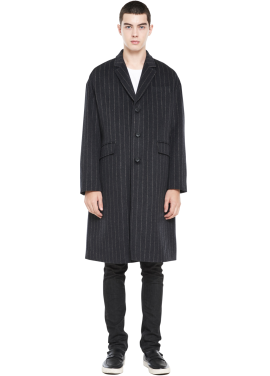 [MILLOGLEM/역시즌50%SALE]over fit stripe coat_men_charcoal