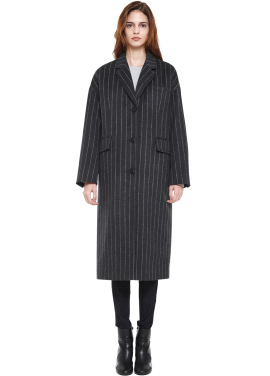 [MILLOGLEM/역시즌50%SALE]over fit stripe coat_women_charcoal