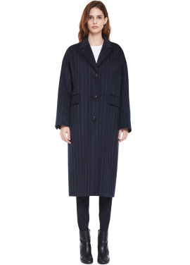 [MILLOGLEM/역시즌50%SALE]over fit stripe coat_women_navy