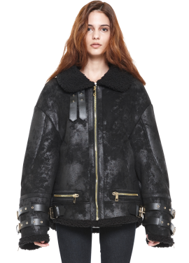 [MILLOGLEM/역시즌50%SALE]avider shearling jacket_woment_black