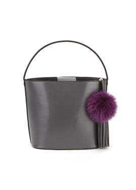 [OFF THE RECORD] Flower Pom Gray Bucket Bag