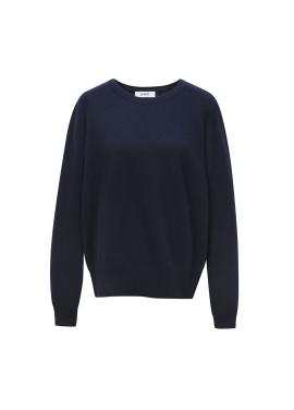 [LEWITT/인기상품] Cashmere Blend Round Knit - Navy