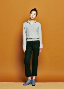 [URAGO/인터뷰 단독 35%] Collar arm Knit gray