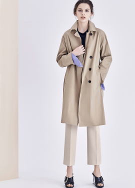 ◆Hidden Button Belted Trench Coat
