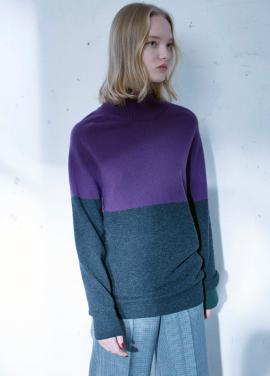 [시즌오프20%]Cashmere color block turtleneck sweater[D/GREY]