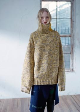 [시즌오프20%]]Multi color bulky turtleneck sweater [YELLOW]