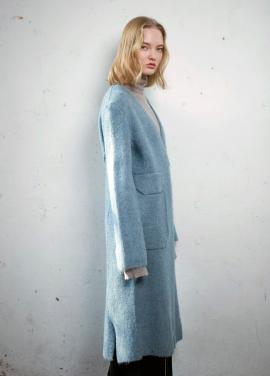 [MOONHEE]Brushed mohair long open coat[L/BLUE]