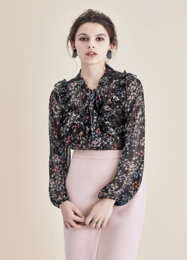 ◆Flower Patterned Tie Chiffon Blouse