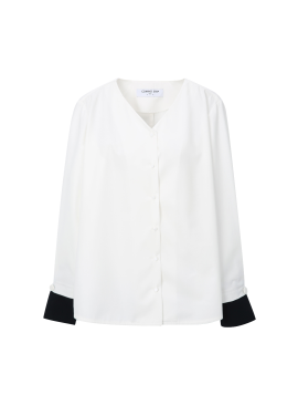 [단독40%] Sleeve Colorblock V-Neck Blouse [송지효 착용]